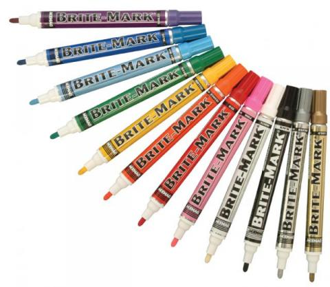 Brite Mark markers are quick-drying and permanent on most surfaces.